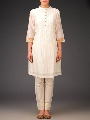Cream-Pink-Olive Chanderi Brocade Pintuck Tunic