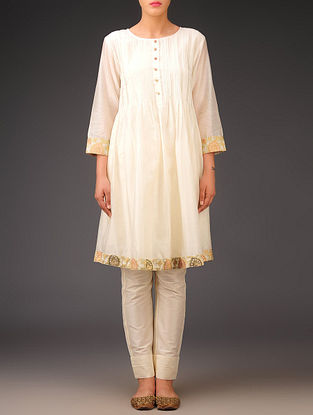 Cream - Golden - Chanderi Brocade - Pintuck Tunic