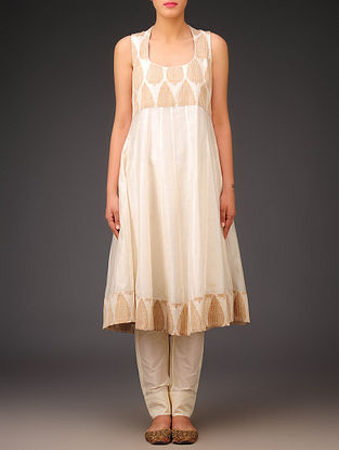 Cream - Bronze Chanderi Brocade - Stitch Detailed Halter Neck Kurta