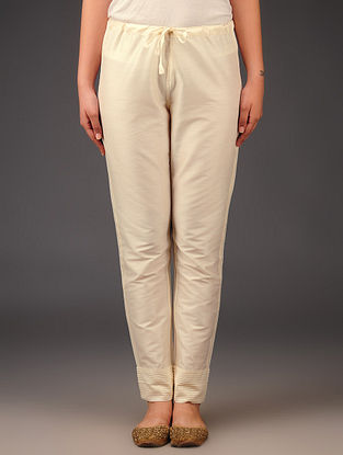 Cream Raw Silk Pintuck Tie - Up Waist Pants