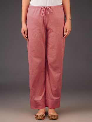 Coral Cotton Tie - Up Waist Pants
