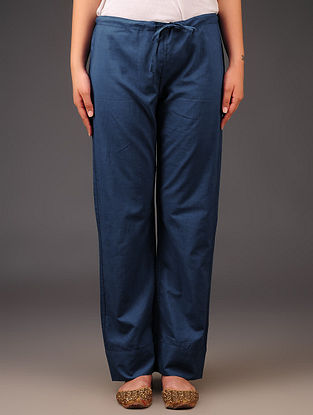 Indigo Cotton Tie - Up Waist Pants