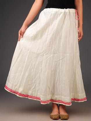 Cream - Pink Chanderi Crushed Tie - Up Waist Skirt - Free Size