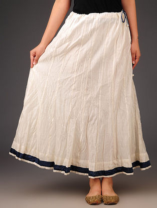 Cream - Navy Chanderi Crushed Tie - Up Waist Skirt - Free Size