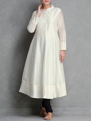 Off-White Kalidar Front Button Placket Cotton Brocade Cutwork Chanderi Kurta by Smriti