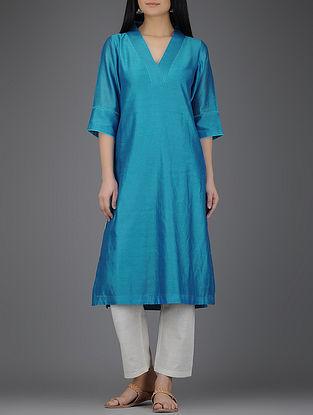 Blue Embroidered V-neck Chanderi Kurta