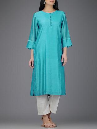 Blue Round Neck Chanderi Kurta with Latticework