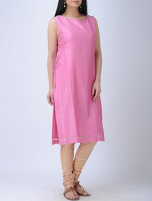 Pink Round Neck Sleeveless Chanderi Kurta