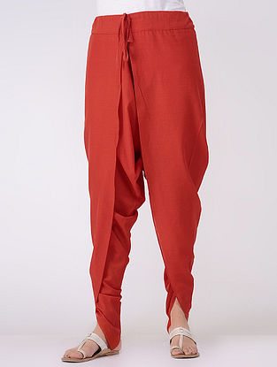 Red Tie-up Waist Cotton Mul Dhoti Pants