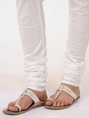 White Tie-up Waist Cotton Churidar