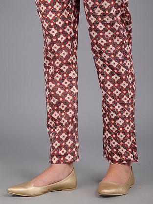 Red-Black Block-printed Cotton Pants