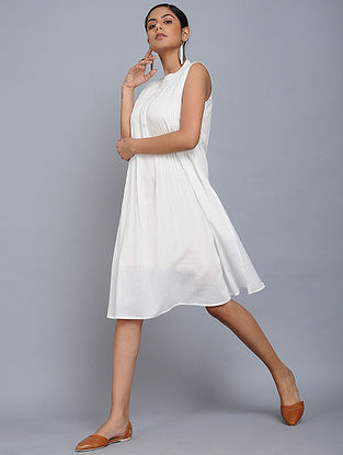 Ivory Pleated Cotton Mul Dress