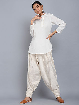 Ivory Cotton Mul Top with Cotton Cutwork