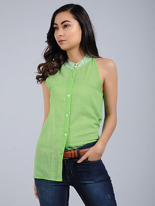 Lime Green Cotton Mul Top with Cutwork