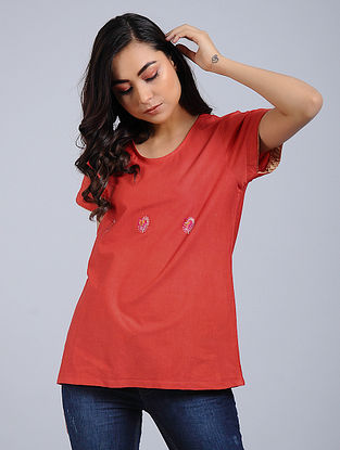 Red Knitted Cotton Top with Mughal Buta