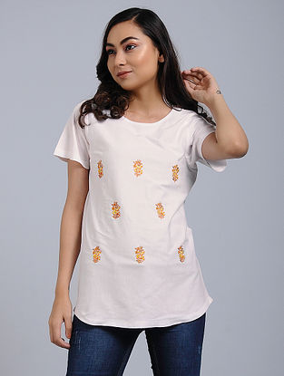 Ivory Knitted Cotton Top with Mughal Buta