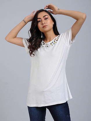 Ivory Knitted Cotton Top With Sequins