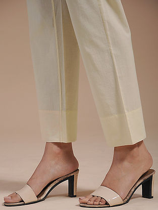 Ivory Cotton Tie-Up Pants