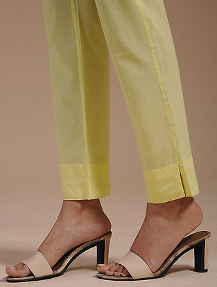 Yellow Cotton Tie-Up Pants