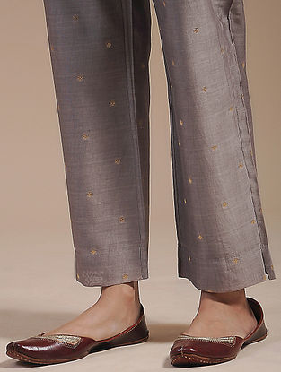 Taupe Chanderi Jacquard Tie-Up Pants