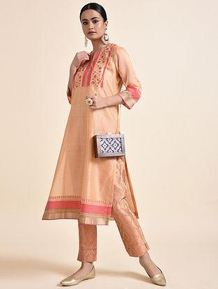 Peach Chanderi Kurta with Cotton Lining