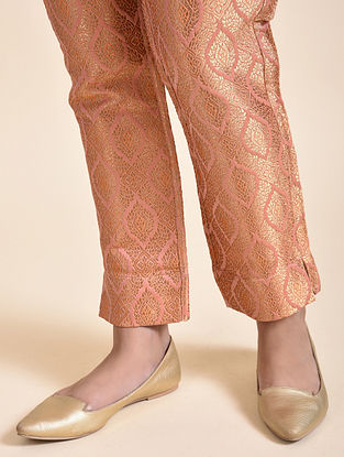 Peach Silk Tanchoi Pants with Cotton Lining