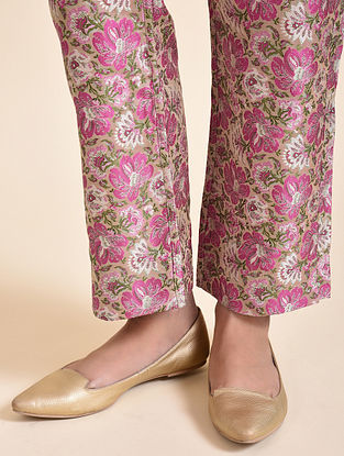 Multicolored Floral Silk Tanchoi Pants with Cotton Lining