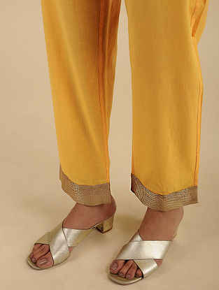 Yellow Cotton Pants with Tissue Details