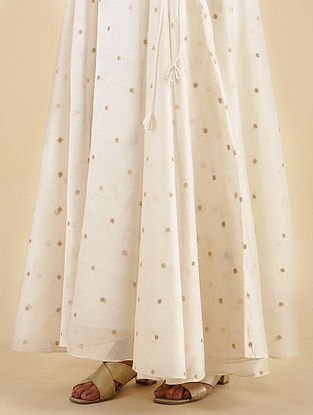 Ivory Chanderi Jacquard Skirt with Cotton Lining