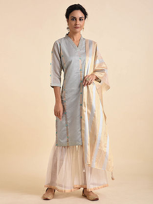 Grey Embroidered Chanderi Jacquard Kurta with Cotton Lining