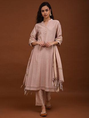 Pink Zari Checkered Chanderi Kurta with Cotton Lining