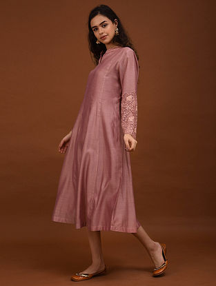 Pink Embroidered Chanderi Kurta with Cotton Lining