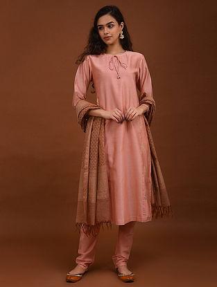 Tangerine Chanderi Kurta with Benarasi Jacquard Panels and Cotton Lining