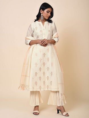 Ivory Pintucks Chanderi Jacquard Kurta with Cotton Lining