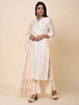 Ivory Chanderi Jacquard Kurta with Sequins and Cotton Lining