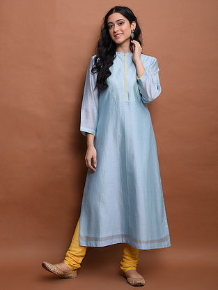 Blue  Chanderi Kurta with Cotton Lining and Churidar (Set of 2)