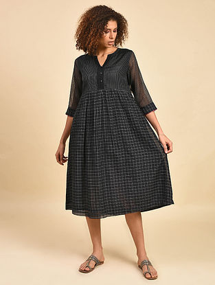 Black Cotton Chanderi Kurta Dress with Cotton Lining