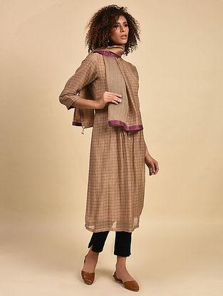 Brown Pintuck Cotton Chanderi Kurta with Cotton Lining