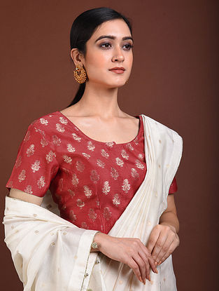 Maroon Handwoven Benarasi Silk Cotton Blouse