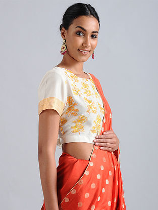 Ivory-Orange Embroidered Chanderi Blouse