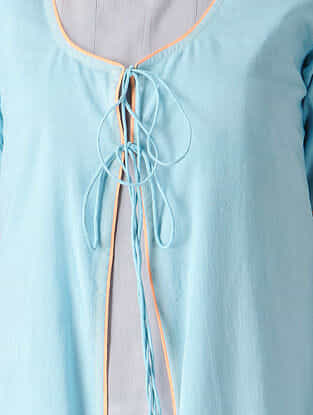 Grey-Blue Tie-up Cotton Kurta with Jacket (Set of 2)