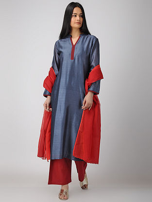 Blue Chanderi-Cotton Kurta