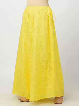 Yellow Tie-up Waist Banarasi Cutwork Cotton Skirt