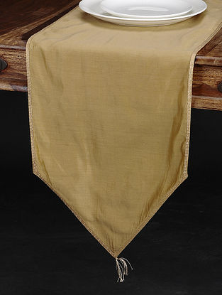Beige Chanderi and Cotton Table Runner (71in x 13.5in)