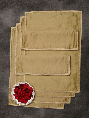 Beige Chanderi and Cotton Table Mats (Set of 6) (19in x 13in)