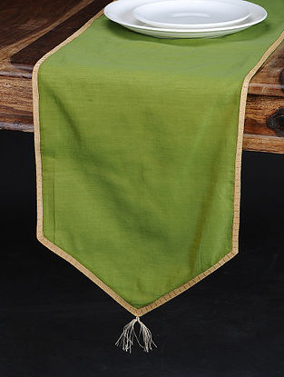 Green Chanderi and Cotton Table Runner (74in x 13in)