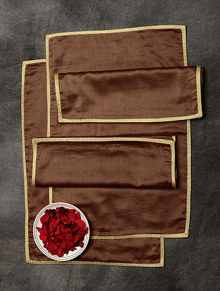 Brown Chanderi and Cotton Table Mats (Set of 6) (19in x 13in)