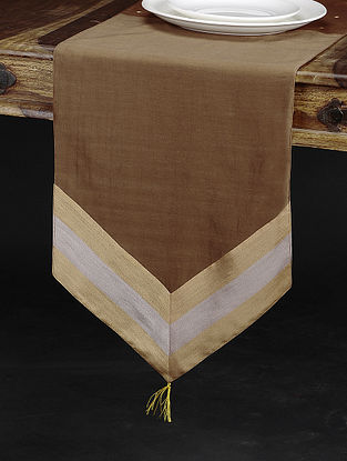Brown Chanderi and Cotton Table Runner (74in x 13in)