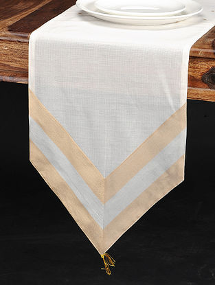 Off-White Chanderi and Cotton Table Runner (68in x 12.5in)
