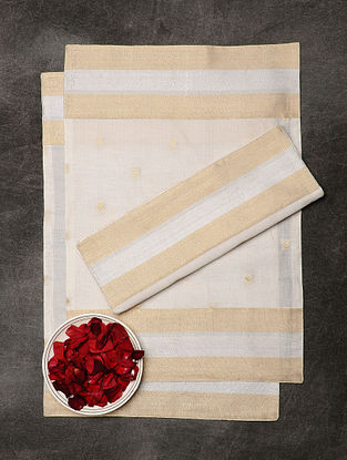 Off-White Chanderi and Cotton Table Mats (Set of 6) (19in x 12.5in)